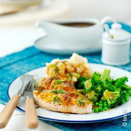 Sizzled Turkey Steaks With Leek & Turkey Gravy