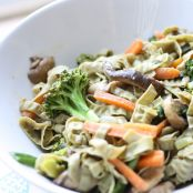 Veggie Stir Fry Noodles with Tangy Peanut Sauce