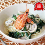 Prawn and kale garlic cream sauce spaghetti